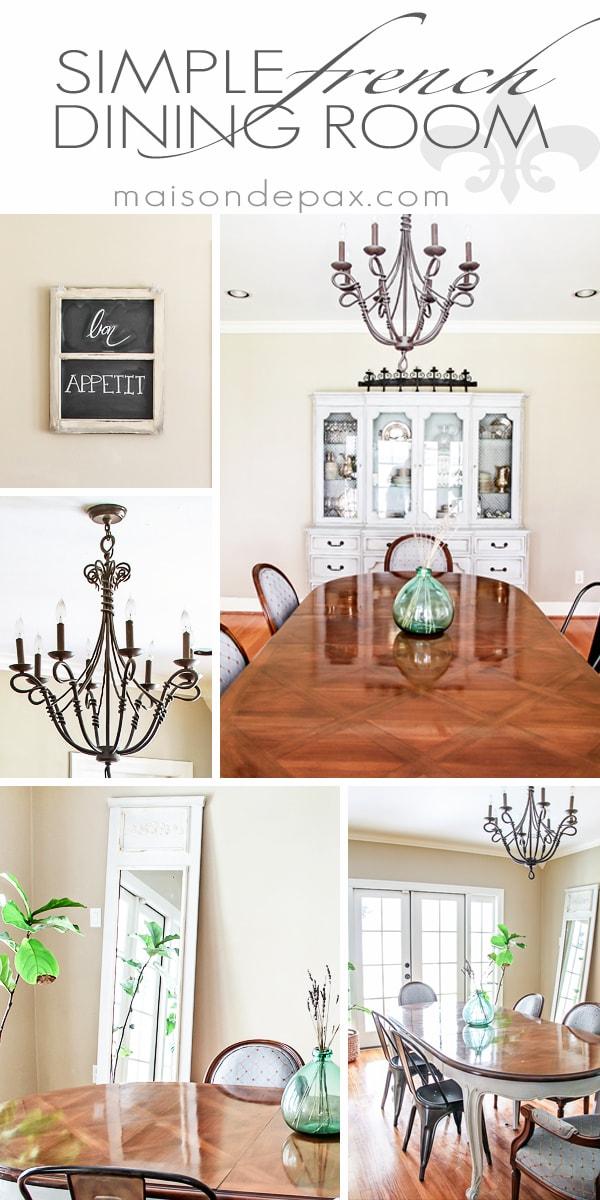 Gorgeous, simple French dining room | maisondepax.com #diy #decorating #design