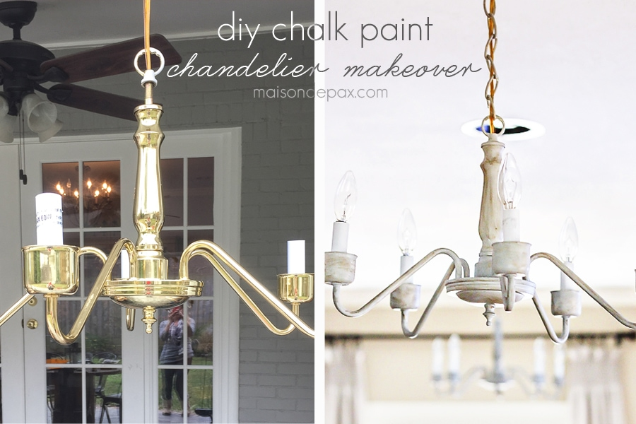 transform an outdated brass chandelier with chalk paint | maisondepax.com