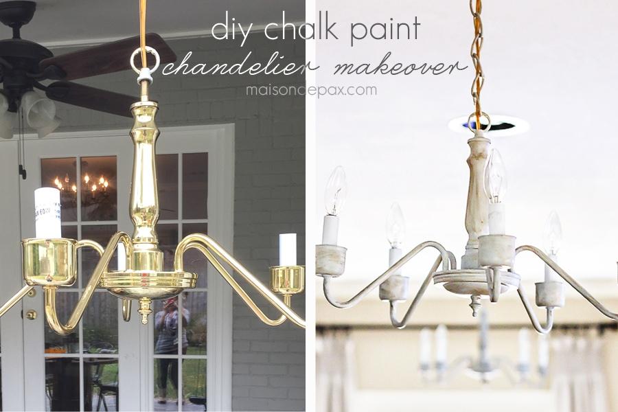 transform an outdated brass chandelier with chalk paint | maisondepax.com