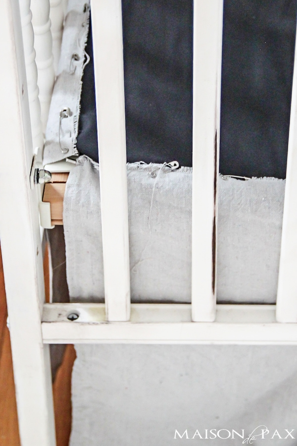 step by step EASY tutorial for a gorgeous linen look diy crib skirt from drop cloth | maisondepax.com