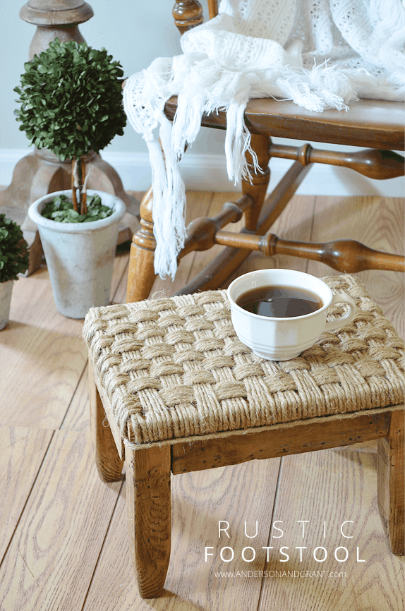 Rustic Footstool Makeover | Anderson + Grant