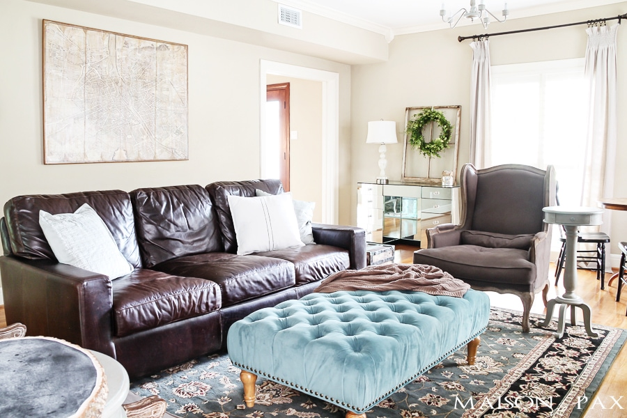 Gorgeous Neutral Living Room With Blue And Turquoise Accents: Mix Of  Antiques, Affordable Pieces Part 37