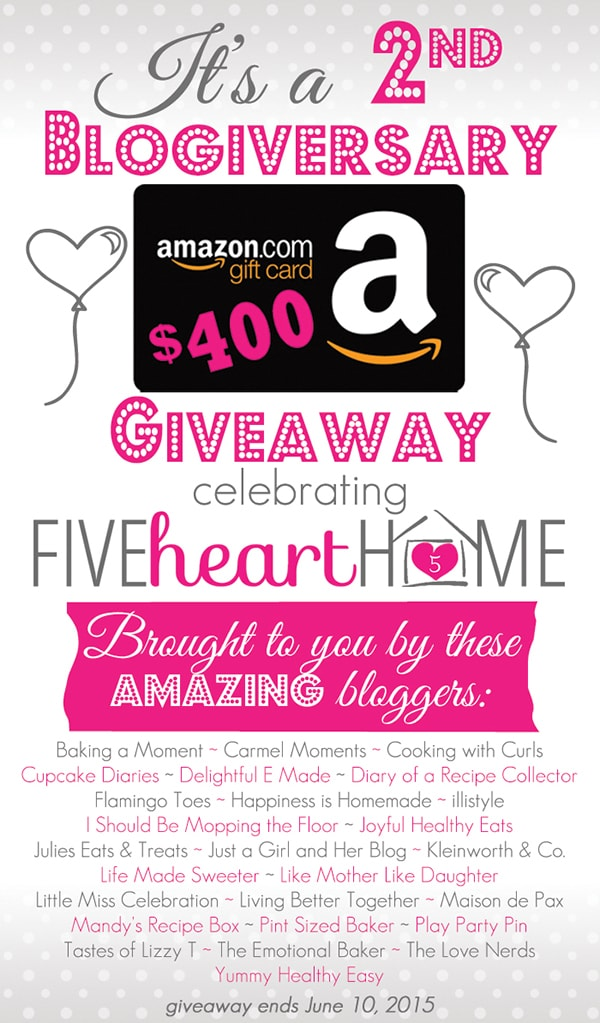 enter to win a $400 Amazon gift card celebrating 2 years of blogging at fivehearthome.com