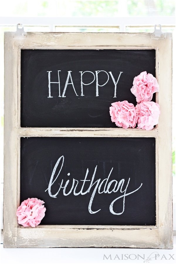 simple decorations for a first birthday party - I love the chalkboard and flowers! maisondepax.com