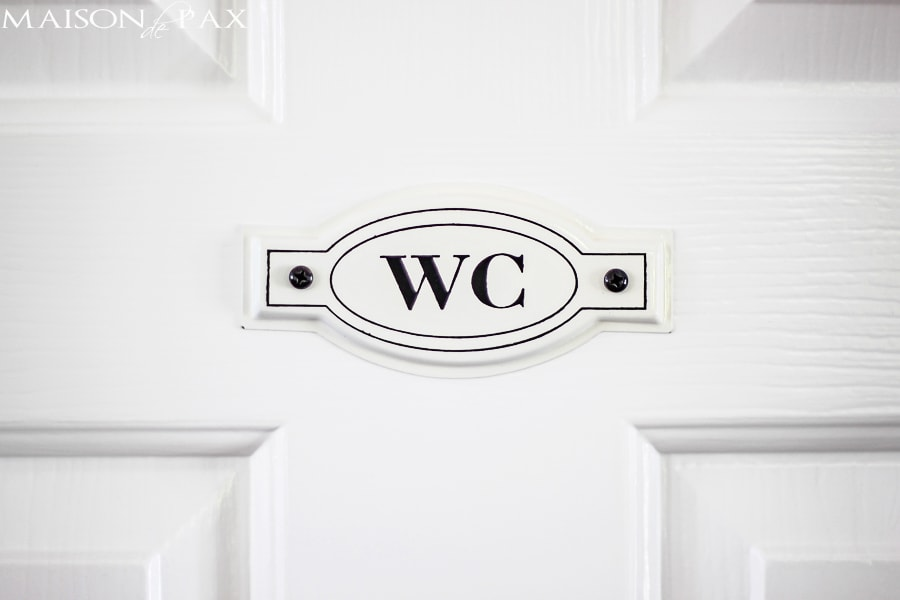 darling French enamel water closet sign   maisondepax.com