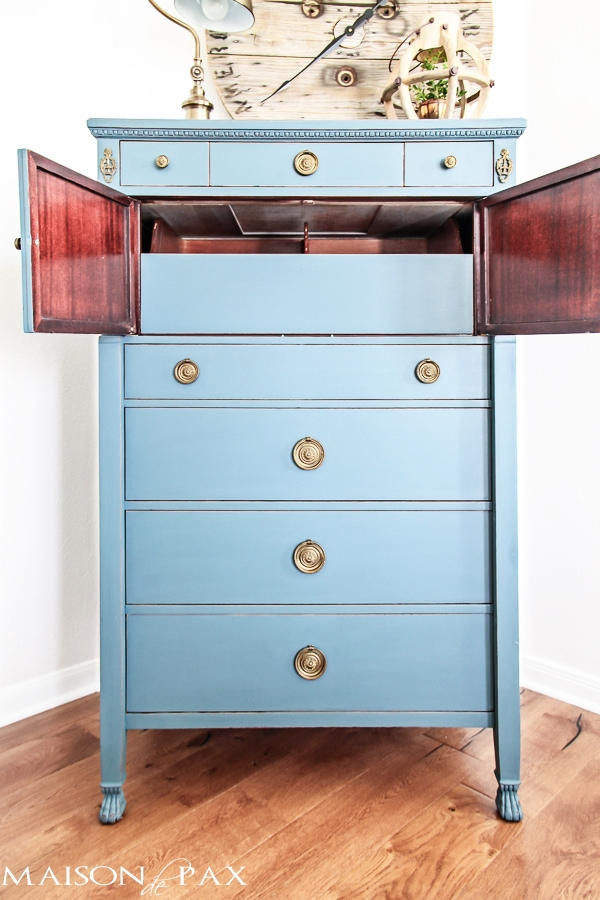Gorgeous antique dresser painted blue and lightly distressed: best way to paint furniture - no sanding or top coat required | maisondepax.com