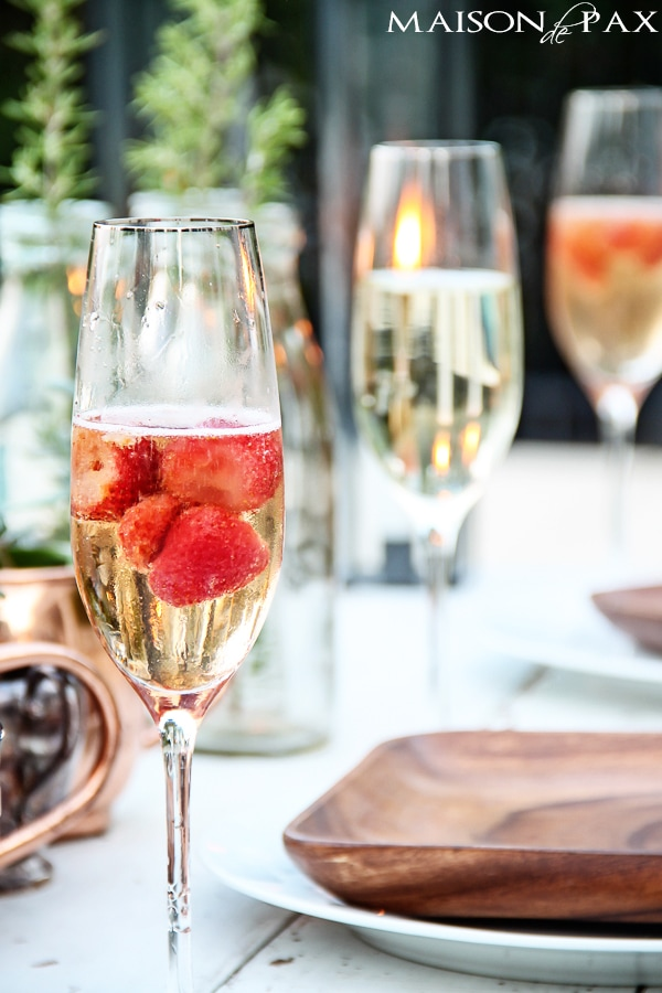 A delicious and super simple strawberry champagne cocktail - perfect for celebrating any occasion | maisondepax.com
