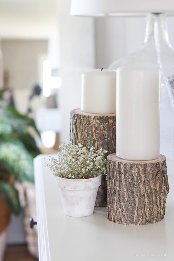 What a beautiful and simple diy project! log candleholders by lovegrowswild.com