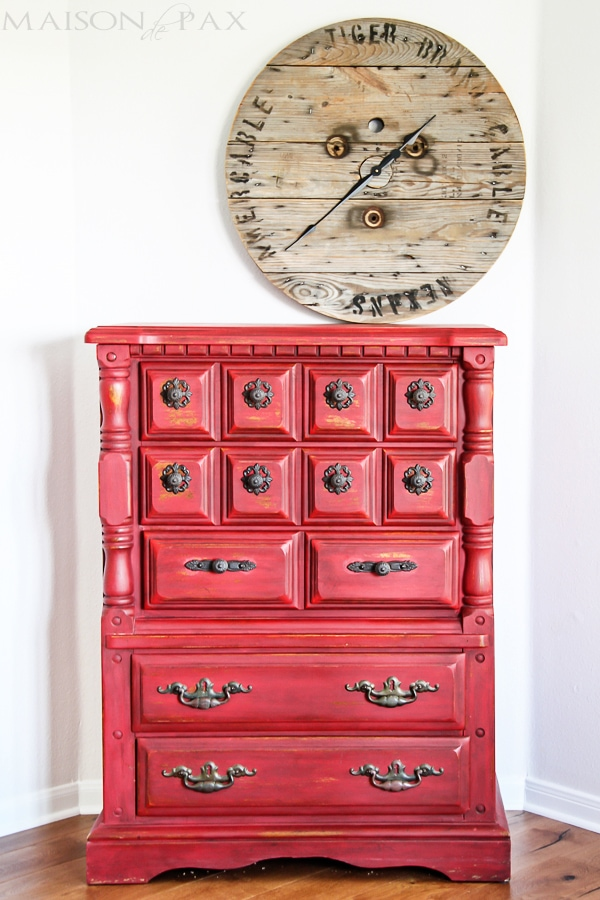 gorgeous vintage dresser refinished in a distressed, rustic red milk paint   maisondepax.com