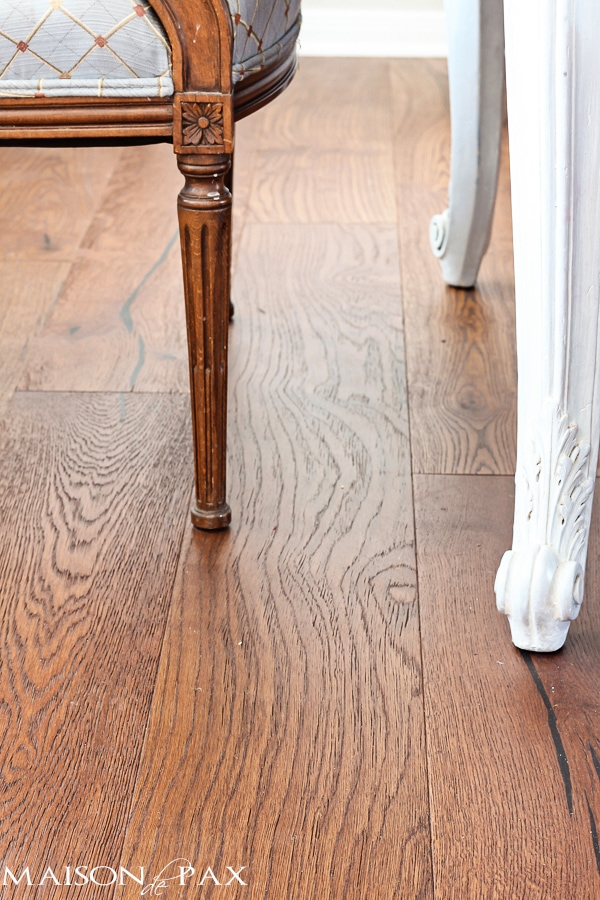 gorgeous wide plank European oak floors: the perfect brown and just a little rustic | maisondepax.com