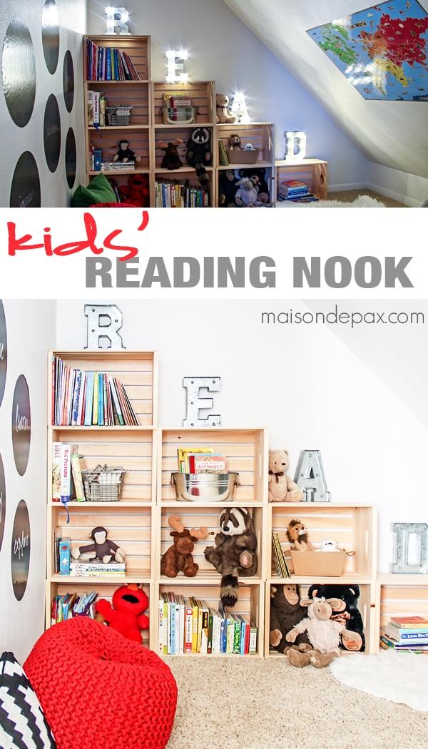 Adorable reading and play room for kids: budget friendly ideas for creating a darling nook anywhere in your house with books, maps, pillows, poufs, and more | maisondepax.com