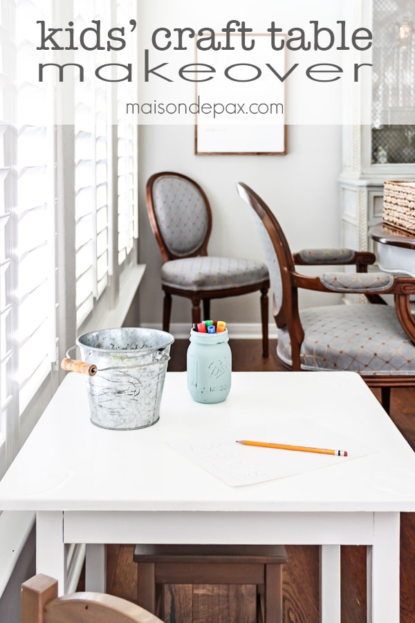 Kid craft table makeover: perfectly kid sized but stylish enough for the dining room; painted in Behr Ivory Keys | maisondepax.com