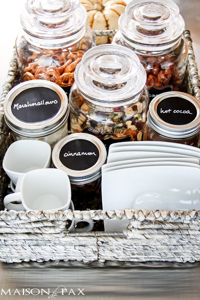 What an adorable idea! A hot chocolate and snack bar - perfect for fall and winter and all those holiday visitors | maisondepax.com