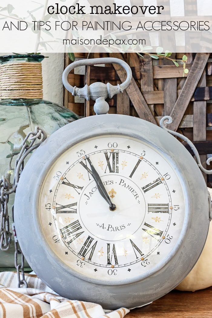 Love these tips! So much better than throwing away old decor. Gray Chalk Paint Clock Makeover | maisondepax.com
