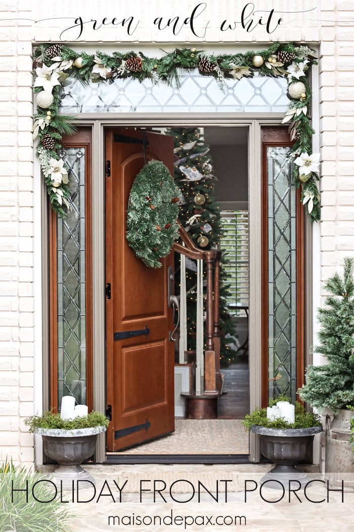 I love this simple, white and green look for the holidays! Classic greenery and white accents for a Christmas Front Porch | maisondepax.com
