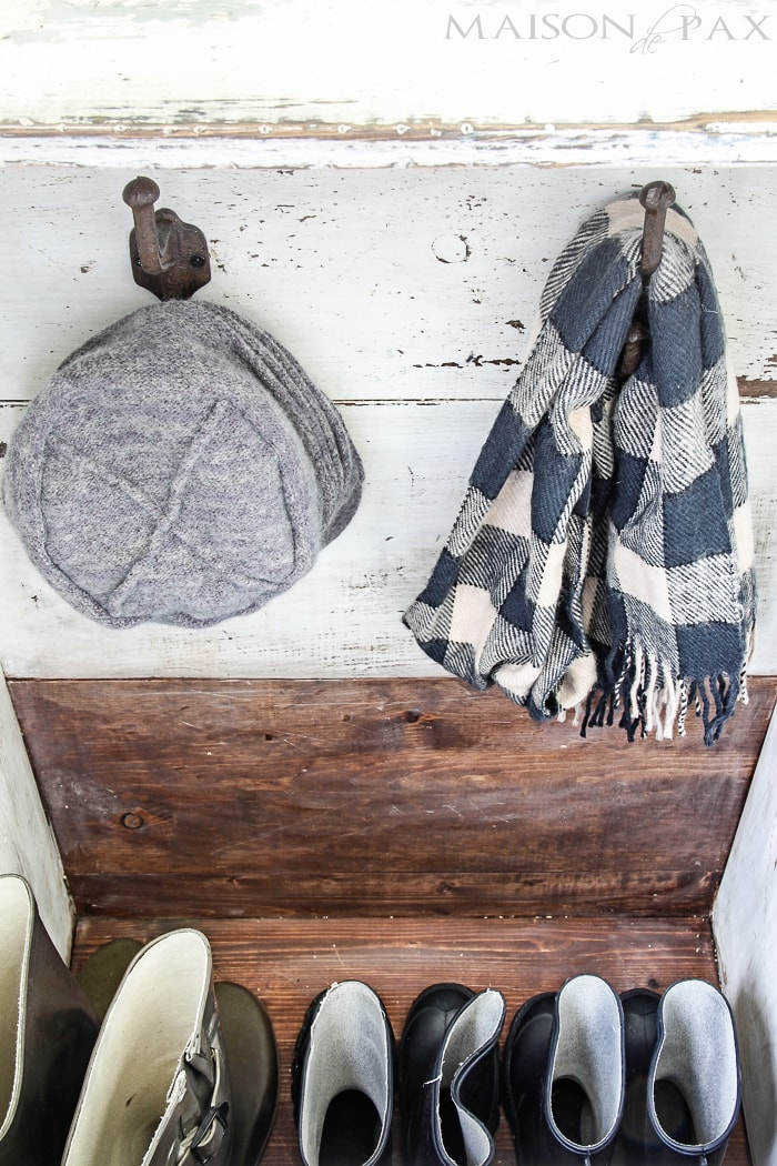 "create a gorgeous, functional entryway with an antique wood firebox used as a mini mudroom... get the plans to build this diy planked ""antique"" firewood box here! 