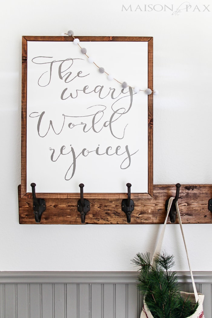 DIY Christmas sign: learn how to make your own beautiful hand painted sign on canvas framed with a simple wooden frame | maisondepax.com