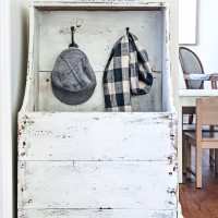 """I love this for an entryway! Step by step tutorial and building plans for an """"antique"""" firewood box - perfect for a mini mudroom, too! maisondepax.com"""