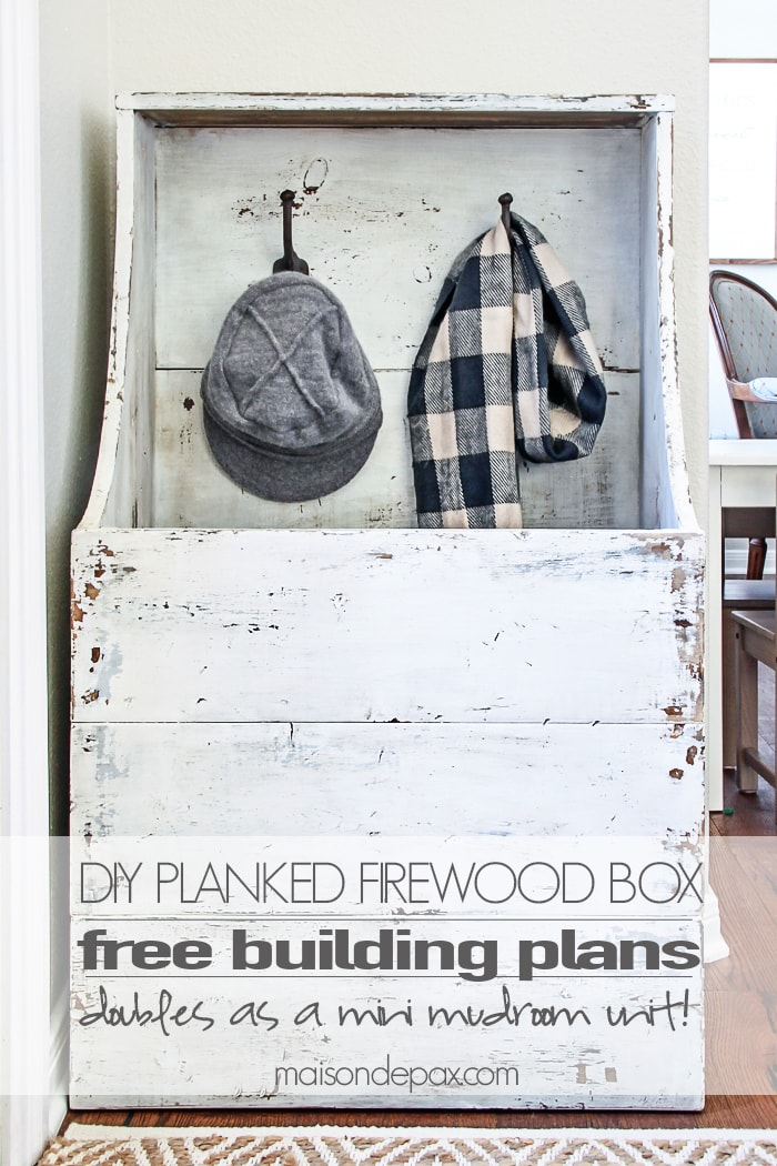 "I love this for an entryway! Step by step tutorial and building plans for an ""antique"" firewood box - perfect for a mini mudroom, too! maisondepax.com"