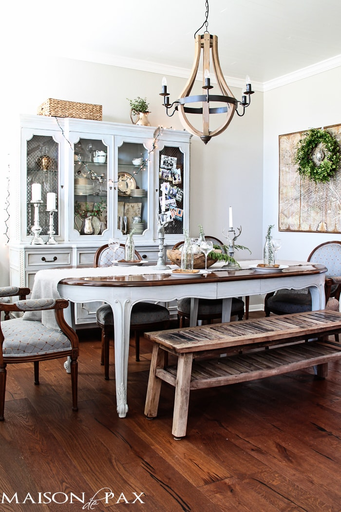Gorgeous neutral dining room with French and rustic elements - decorated for Christmas holidays | maisondepax.com