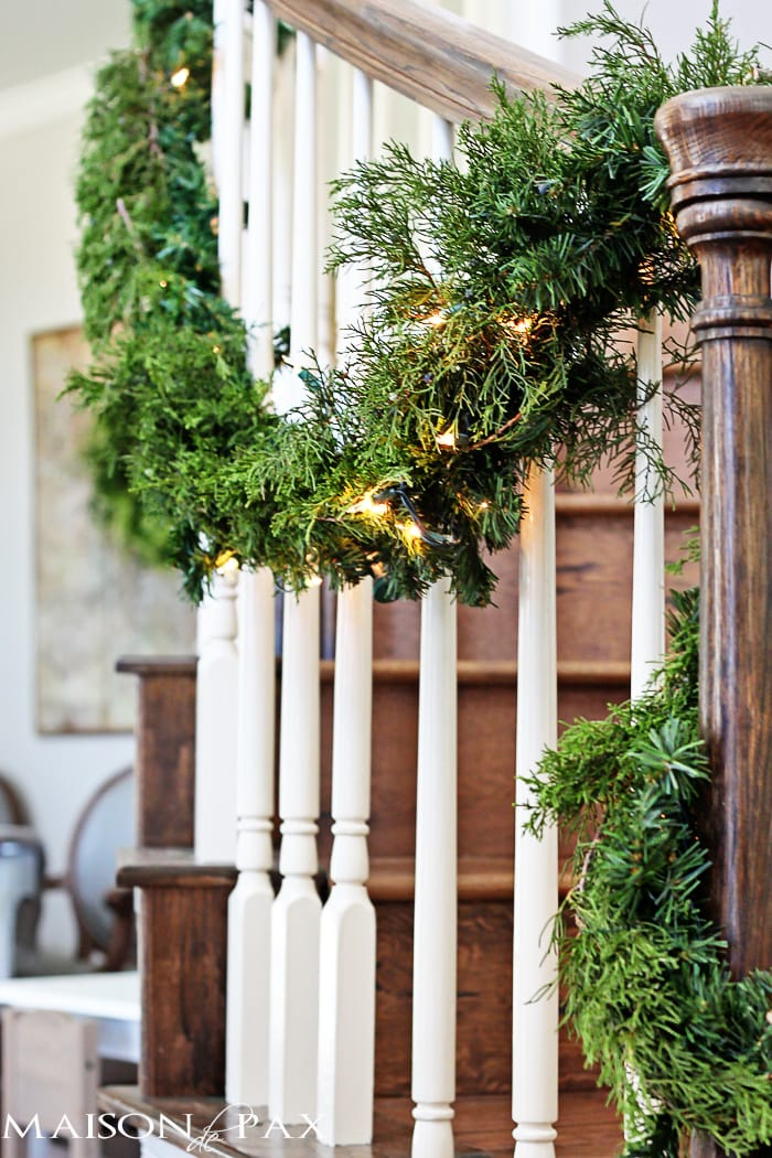 How to Make Cheap Garland Look Expensive - This is so beautiful and so easy! DIY cedar garland makes a gorgeous Christmas decoration in your holiday home | maisondepax.com