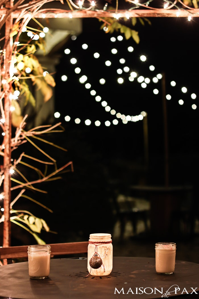 Christmas Lights at Night (bistro table)