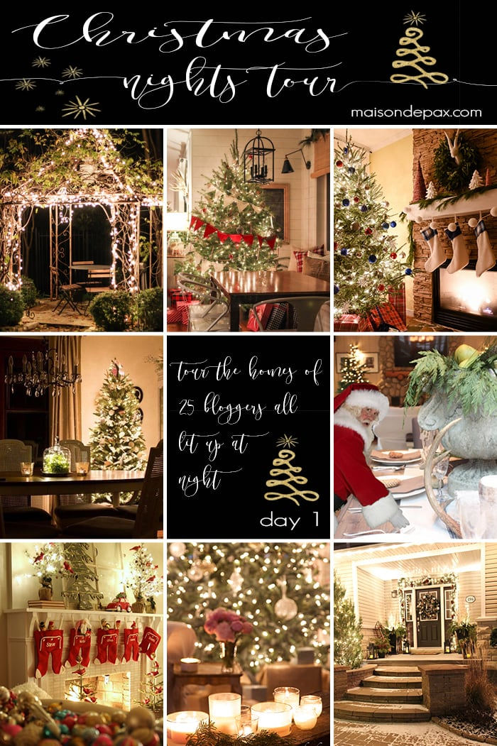 So amazing! Tour 25 gorgeous homes all lit up at night for the holidays | maisondepax.com