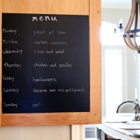 Great idea! Use chalkboard contact paper to create a hidden weekly menu on the inside of a kitchen cabinet door   maisondepax.com