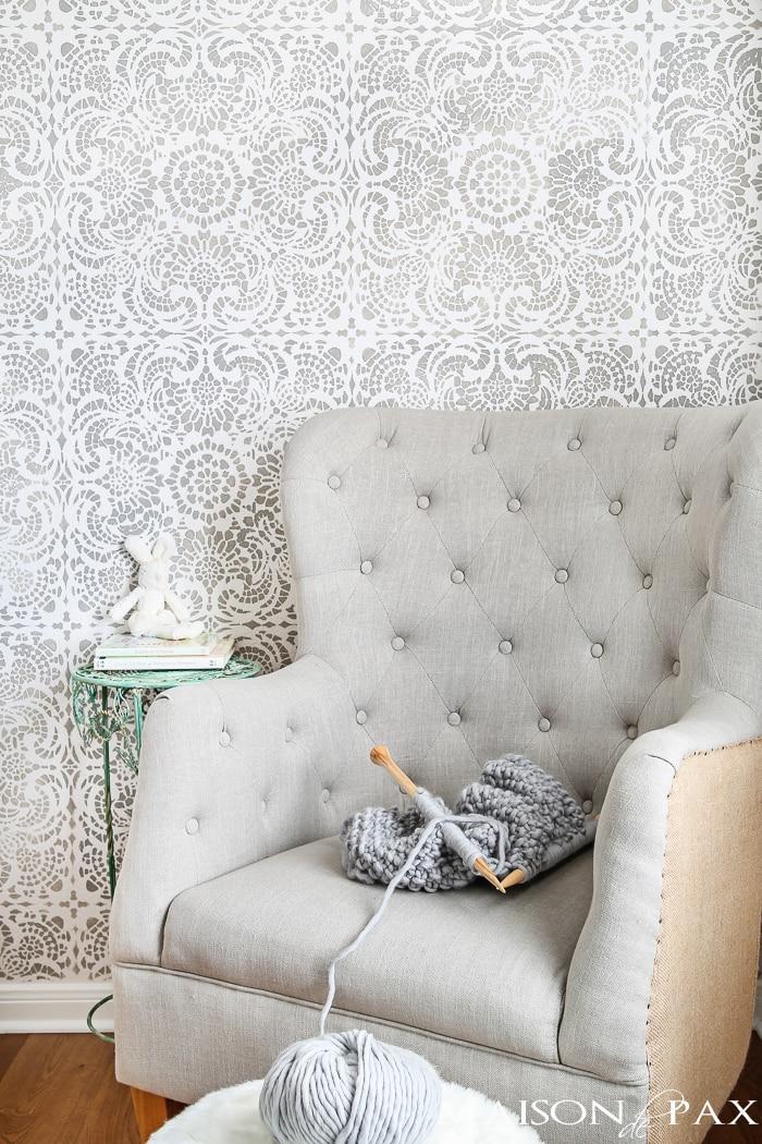 accent wall wallpaper gray