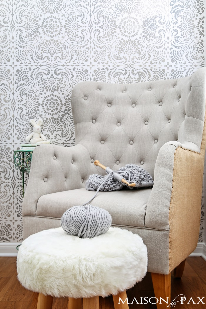 Lace Stencil Accent Wall (chair ottoman)
