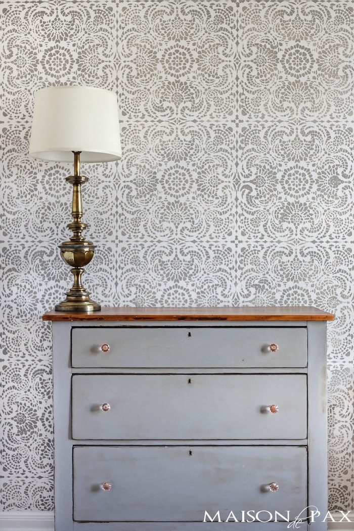 gorgeous gray and white lace tile stencil: Esperanza Lace from Royal Design Studio with a mix of Paris Gray and French Linen over Behr's Cameo White | maisondepax.com