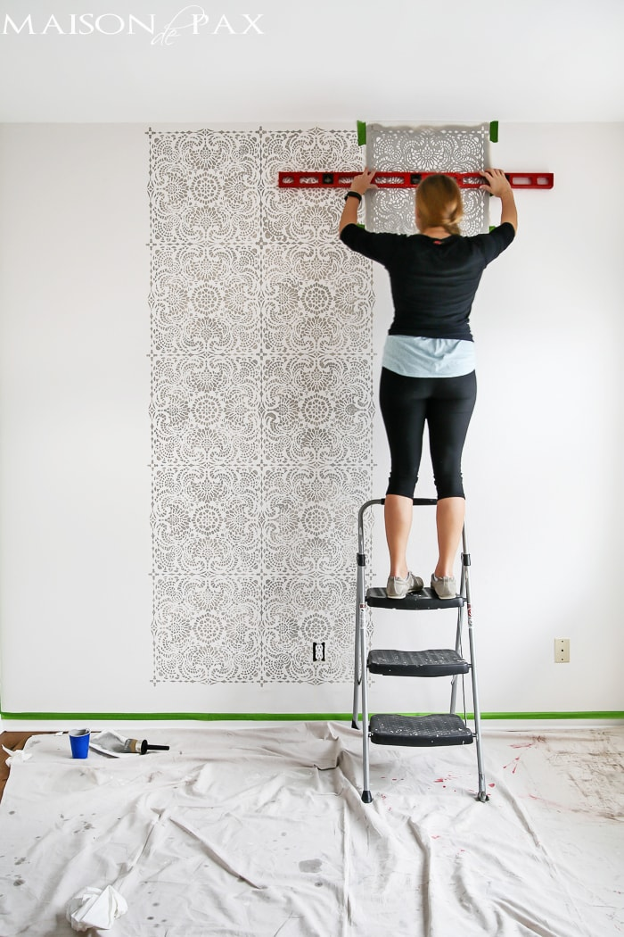 tip: use a level to check your placement as you move along a wall stencil project