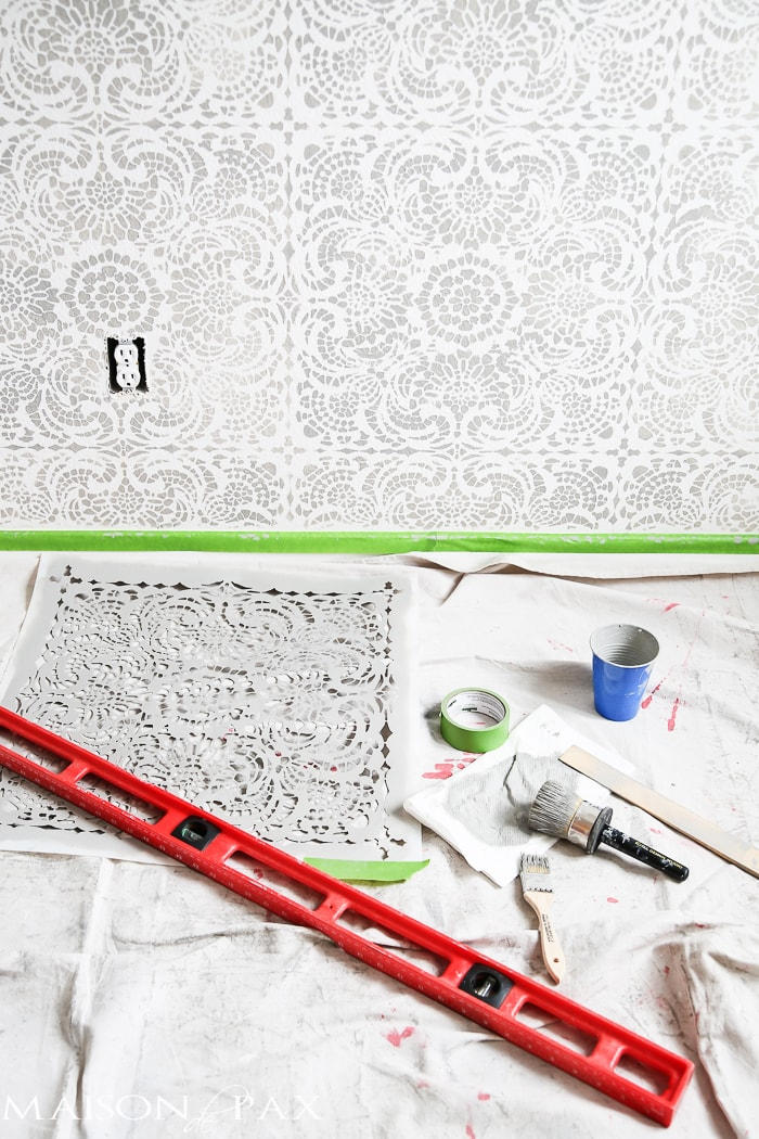 materials needed to stencil an accent wall