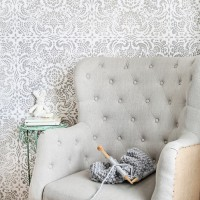 What a gorgeous accent wall! This wall stencil gives the elegant look of wallpaper with a beautiful, lace tile design in gray and white. Just gorgeous for a little girls room yet sophisticated enough for anywhere in the house   maisondepax.com