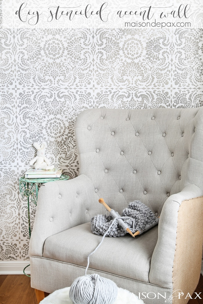 What a gorgeous accent wall! This wall stencil gives the elegant look of wallpaper with a beautiful, lace tile design in gray and white. Just gorgeous for a little girls room yet sophisticated enough for anywhere in the house | maisondepax.com