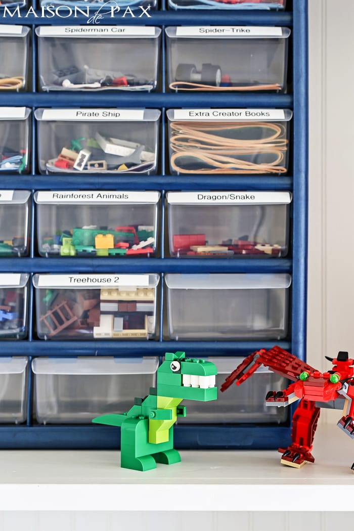 little plastic hardware drawers are perfect for organizing Lego sets