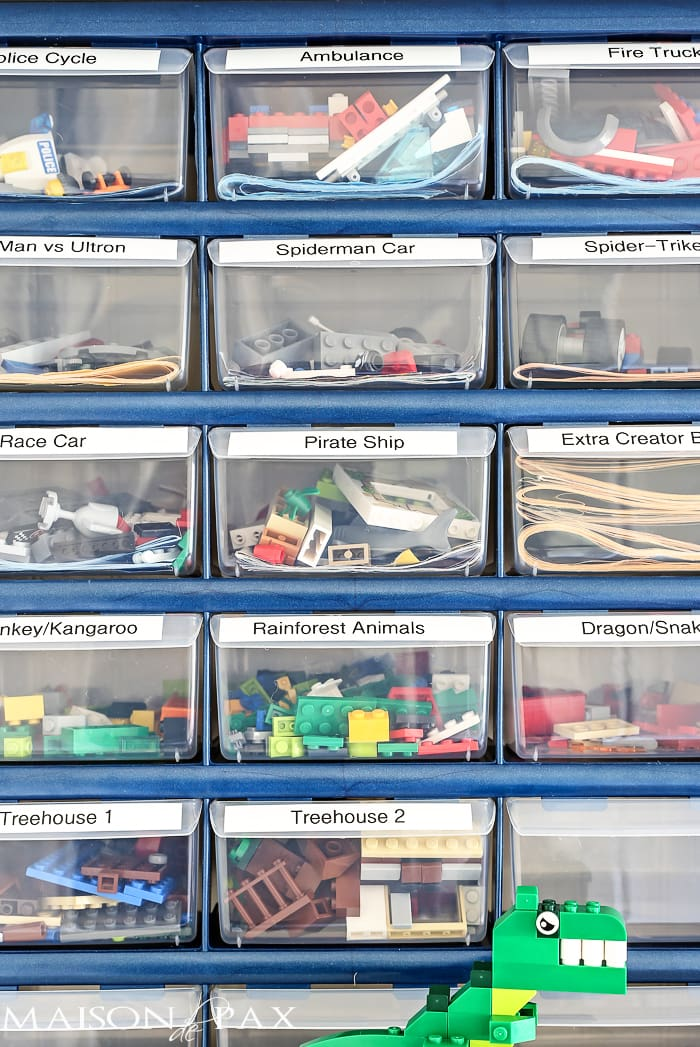 label plastic drawers for lego sets