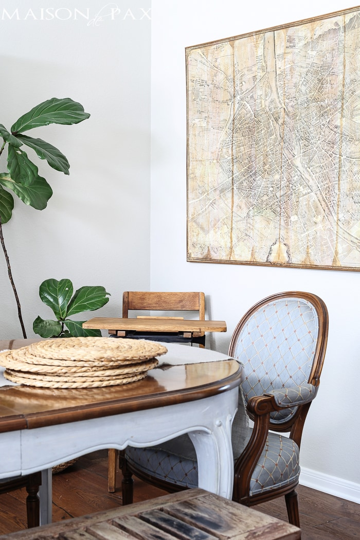 french dining room with diy vintage map | maisondepax.com