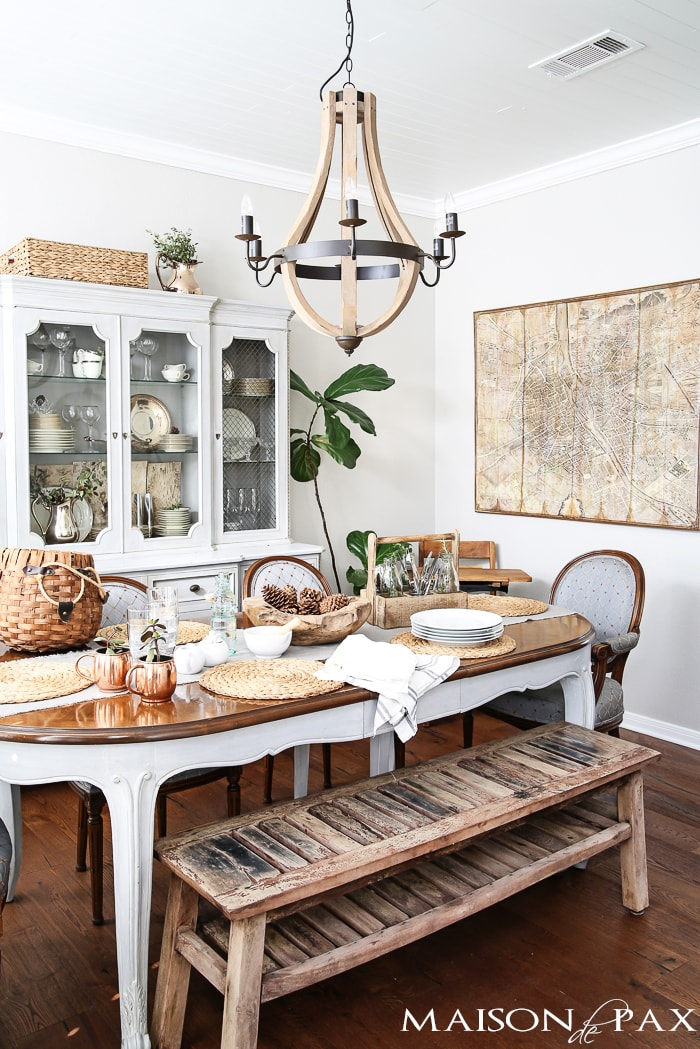 love all the neutrals and textures in this french dining room | maisondepax.com