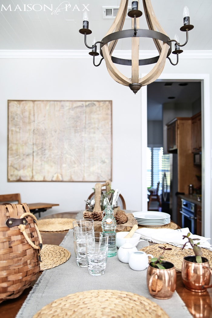 gorgeous formal yet casual dining space with a giant vintage map for wall art | maisondepax.com