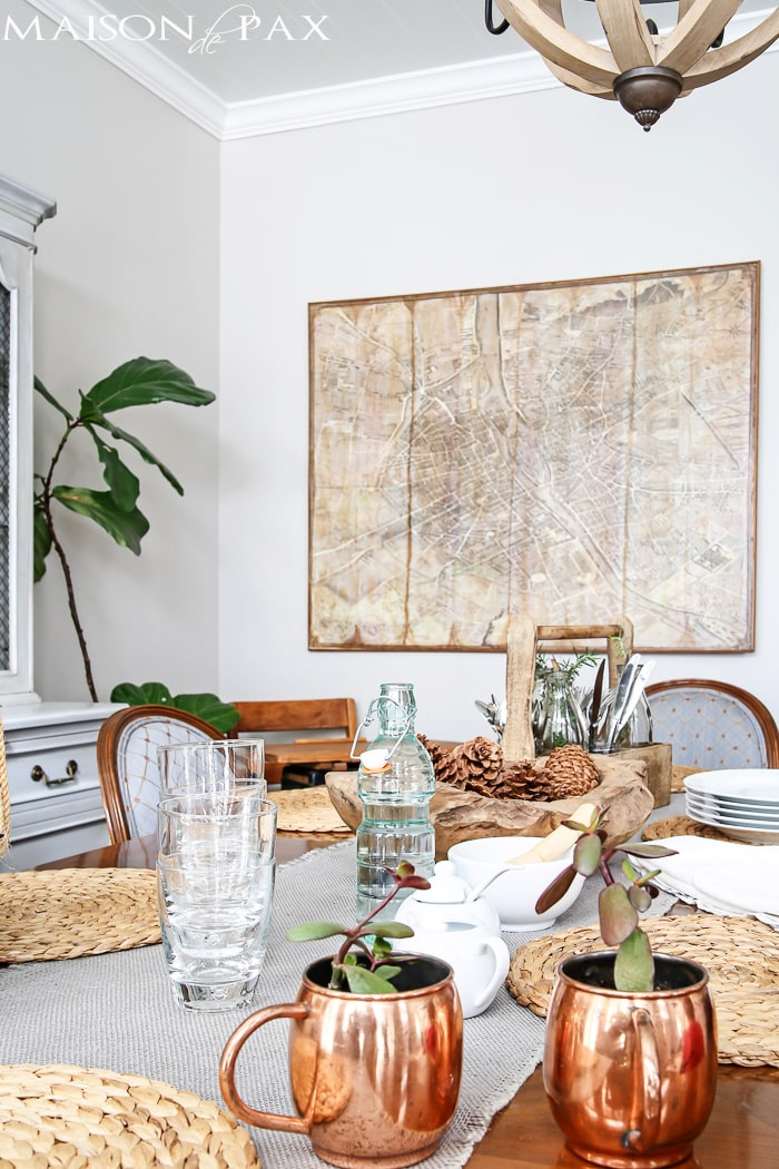 giant diy vintage map is the perfect walk art in this french dining room | maisondepax.com
