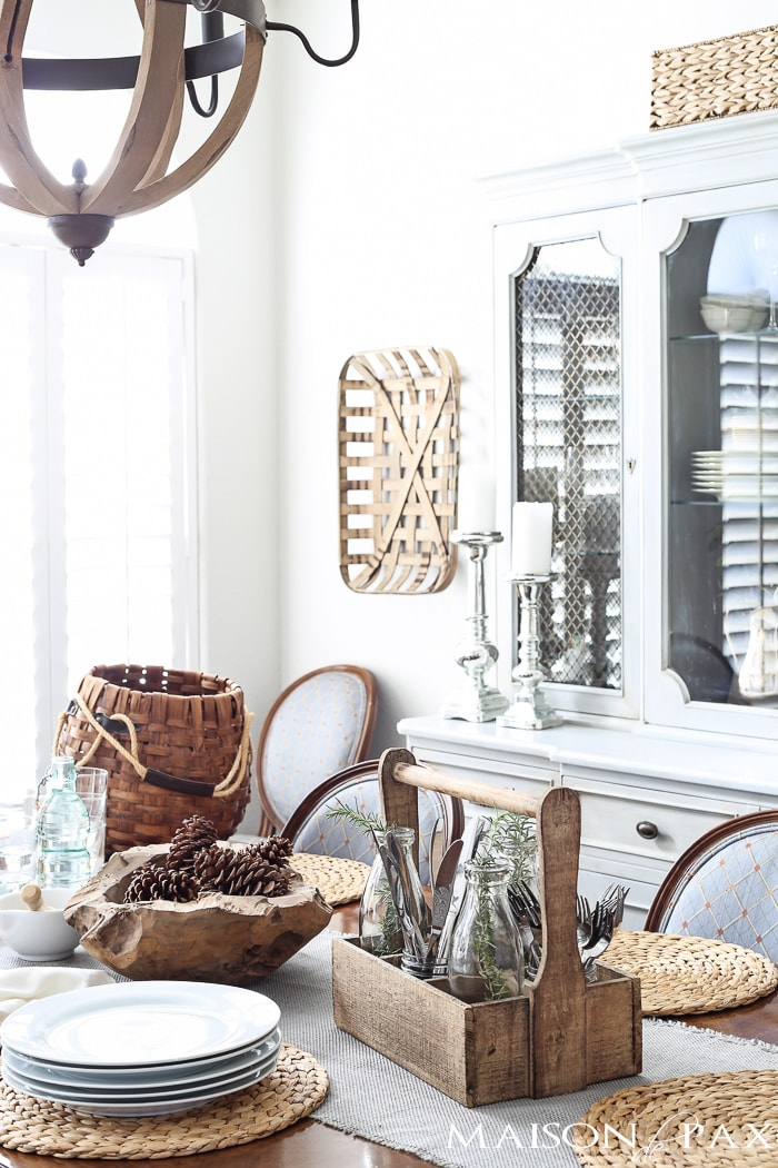 baskets and raw wood provide beautiful texture in this french country dining room | maisondepax.com