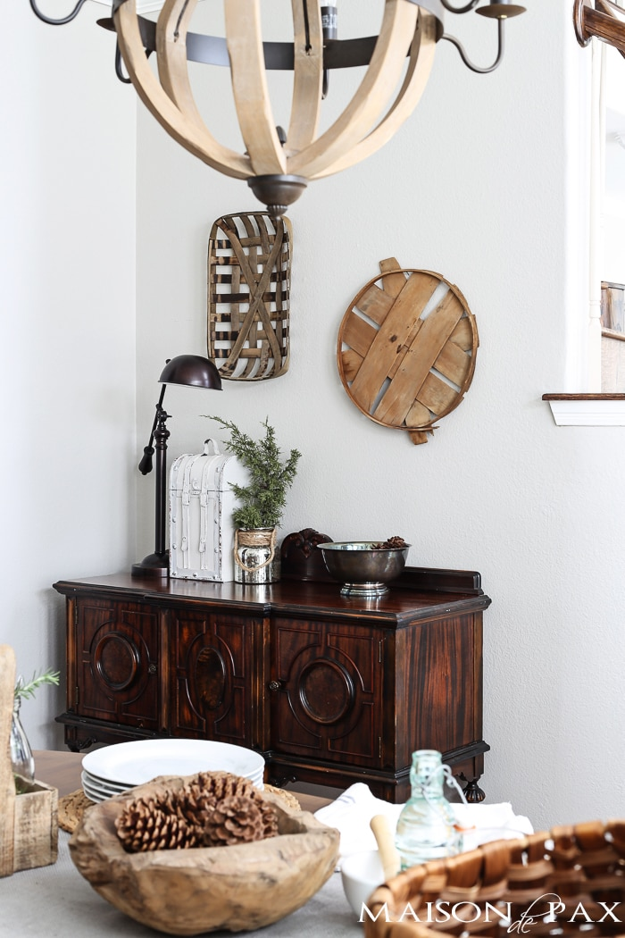 love all the wood tones in this neutral, french dining room | maisondepax.com