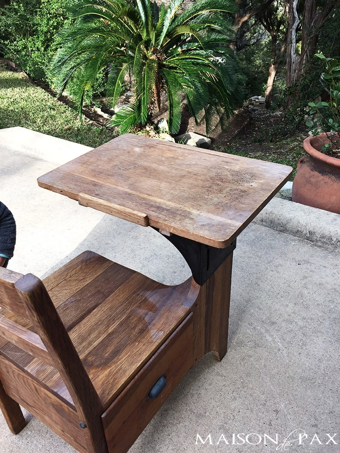 give an old wooden desk with paint spray and stains a makeover
