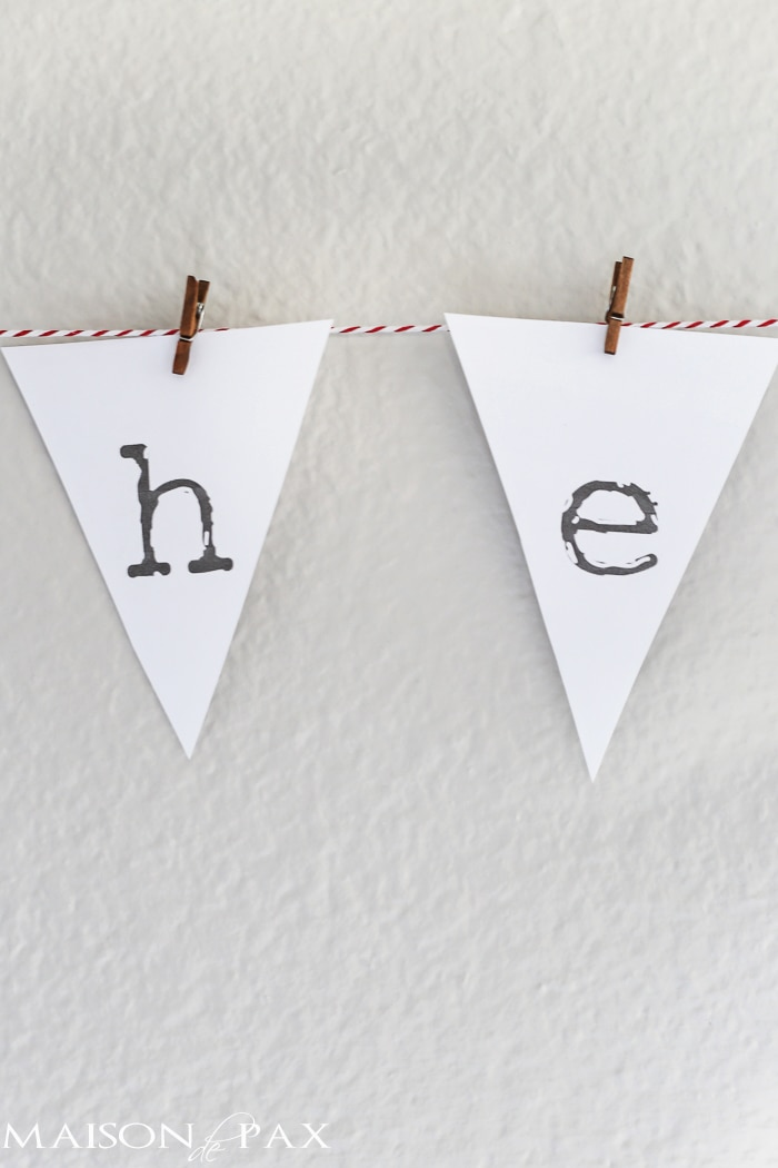 """he first loved us"" adorable printable bunting on red and white baker's twine - Maison de Pax"