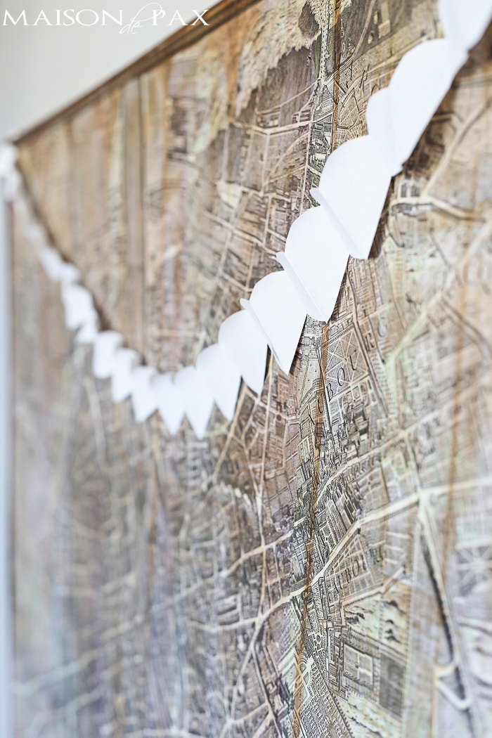 white paper heart chain - such a simple, classic, elegant decoration for Valentine's Day
