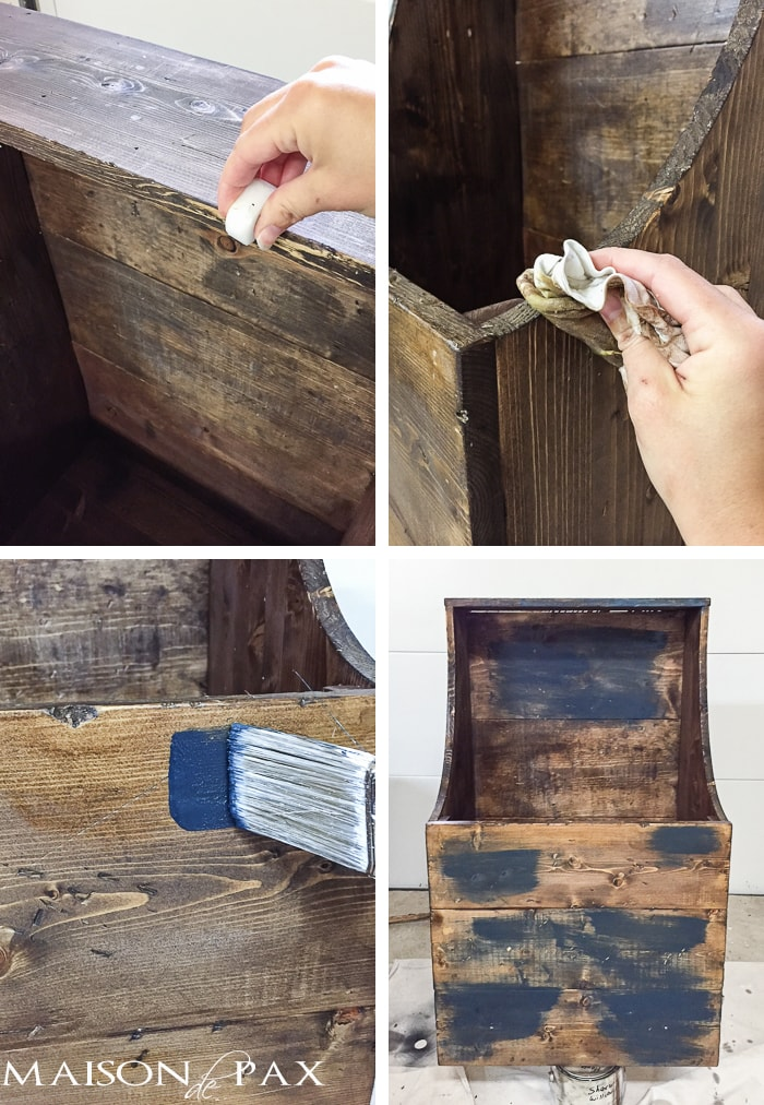 use candle wax (a tea light works great!) and soft furniture wax to achieve a layered, chippy, antique painted look | maisondepax.com