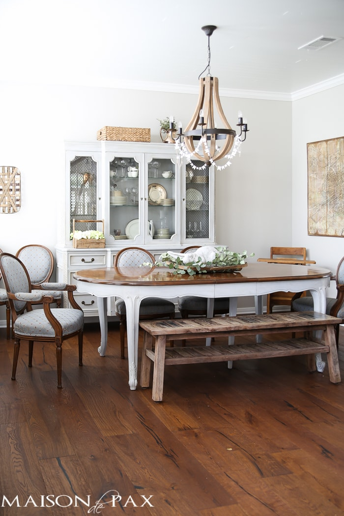 Ideas for Easter Decorating: gorgeous neutral dining room with rustic touches and a wine barrel chandelier | maisondepax.com