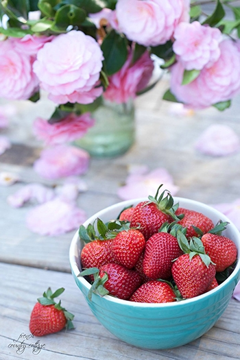french country strawberries and flowers