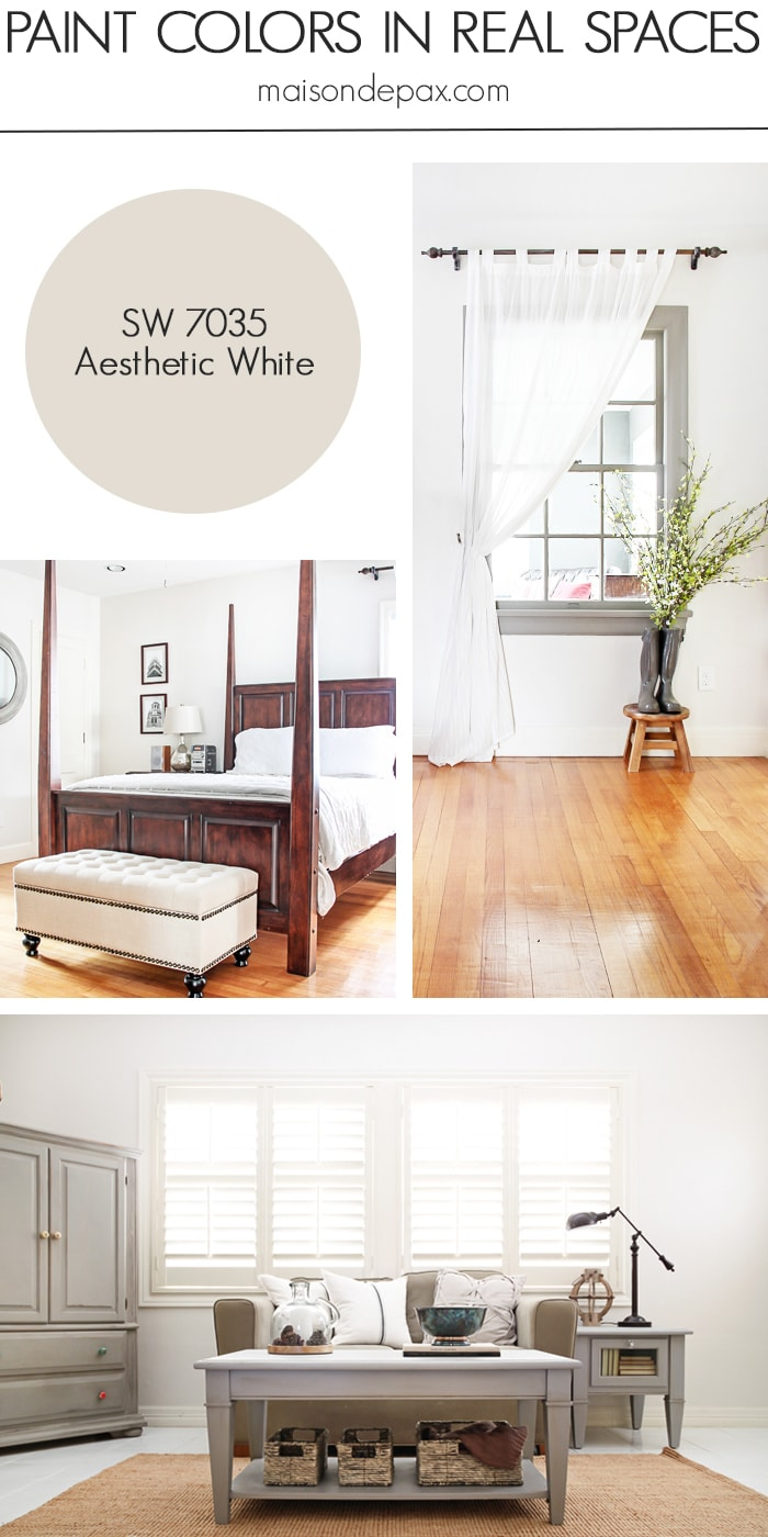 Aesthetic White (SW 7035) by Sherwin Williams: see paint colors in real spaces in this home tour full of lovely, nature-inspired neutrals | maisondepax.com